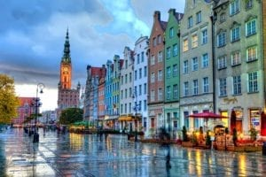 Gdansk,  - old town square after a rain shower… Calgary, Alberta Canada. Photographer Carlos Amat, www.carlosamat.ca